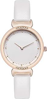 Orologi da donna Orologi da donna in pelle bianca Cassa in oro rosa Elegante orologio semplice Orologio con diamanti in cr...