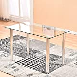 Modern Glass Dinning Table, 47' Clear Dinner Table for 2-6 People, Tempered Glass Dining Room Table with Metal Legs, Rectangular Kitchen Table for Dining Guest Reception