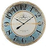 Collezione di Alice - Grande Orologio da Parete Rotondo in Legno Vintage da MDF – Orologio Stile Shabby Chic Adatto per la Sala Cucina & Camera da Letto   Diametro 80cm