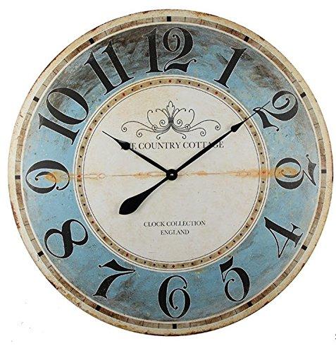 orologio da parete 80 cm diametro Collezione di Alice - Grande Orologio da Parete Rotondo in Legno Vintage da MDF – Orologio Stile Shabby Chic Adatto per la Sala Cucina & Camera da Letto | Diametro 80cm