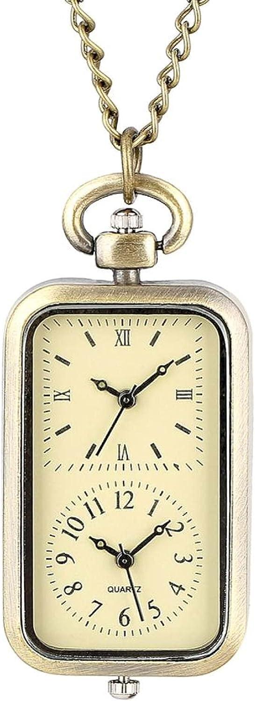 LWCOTTAGE Reloj De Bolsillo De Cuarzo - Pequeño Cuaderno De Notas De Forma Cuadrada, Reloj De Bolsillo De Cuarzo, Collar, Colgante De Época, Cadena, Joyería, Reloj para Niños