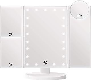 آینه آرایشی روشن FASCINATE ، Trifold Vanity Mirror با 21 چراغ LED و بزرگنمایی 2X / 3X / 10X ، لمس صفحه نمایش لمسی ، منبع تغذیه دوتایی ، 180 درجه چرخش نور آینه (سفید)