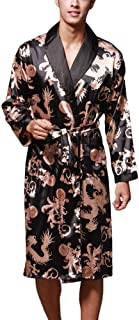 Bathrobe Men's Lightweight Home Luxury Silk Dressing Gown Comfortable Sizes Long Sleeves Nightgown Loungewear Comfortable ...