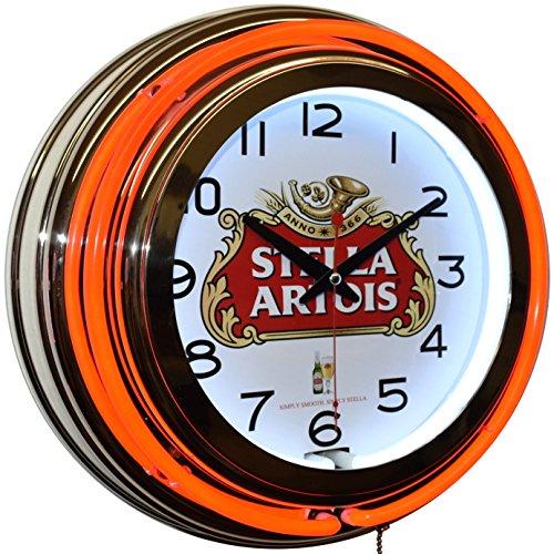 Stella Artois Beer Logo Red Double Neon Advertising Clock Man Cave Bar Decor