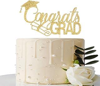 Gold Glitter Congrats GRAD Cake Topper - 2020 Happy Graduation Party Decorations - Congratulations Graduation Party Decora...