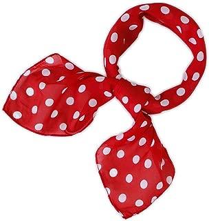 Square Satin Scarf for Women Polka Dot Ribbon Scarves 27 by 27 Inch