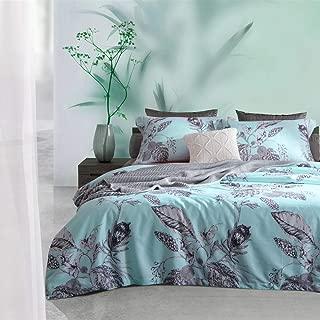 MILDLY Duvet Cover Queen Blue, 100% Cotton Soft Lightweight Duvet Cover Set 3 Piece with Pillow Shams Zipper Closure, Reversible Aqua Leaf Flower Print Pattern Original Design, Blue Chime