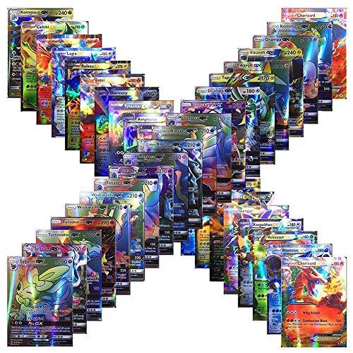 Juego de Tarjetas de Poke GX, 120 Tarjetas de Poke con 115 Tarjetas de Intercambio GX + 5 Tarjetas de Mega Poke para Niños y Niños