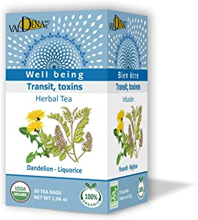 Valdena Bio Well Being Line Dandelion Licorice Organic Tea Infusion, Caffeine Free Herbal Tea Blend, All-Natural, Kosher a...