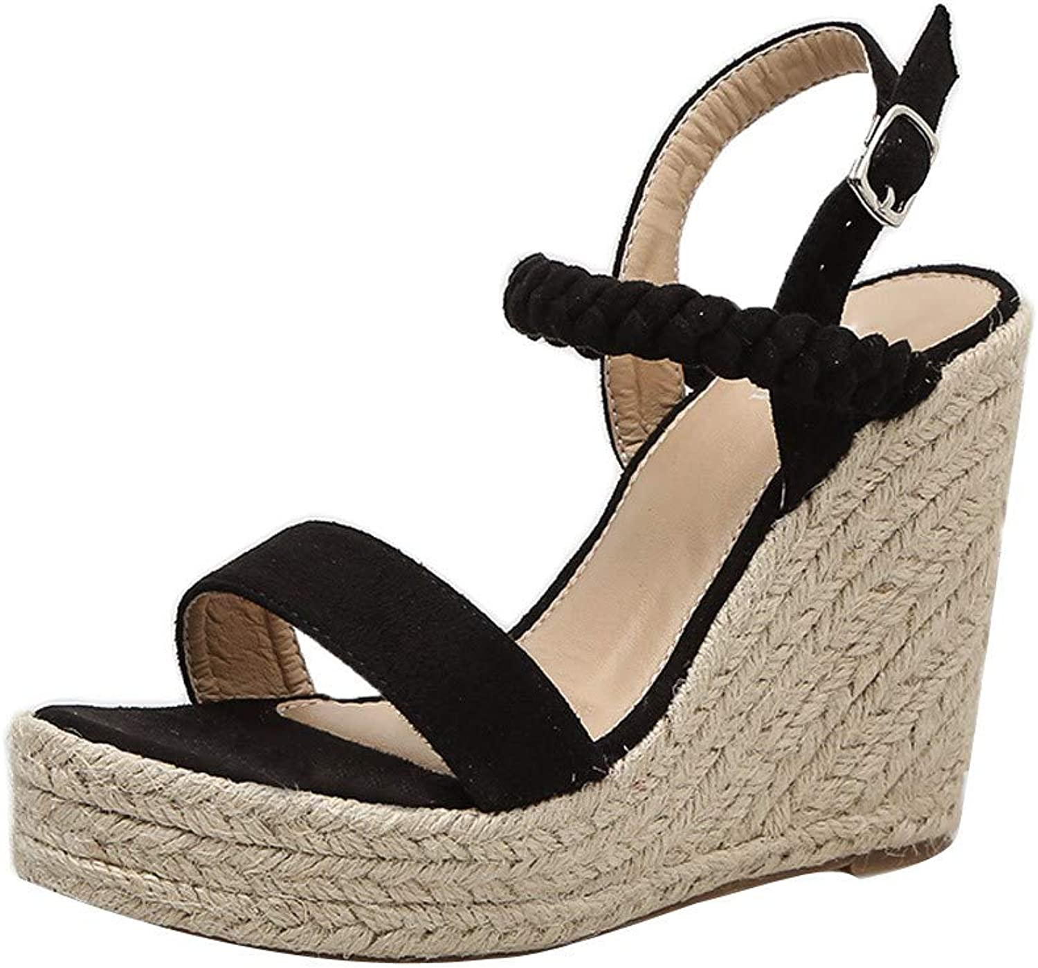 SUSENSTONE Woman shoes Wedge Pumps Platform High Heels Woven Hemp Loop Sandals