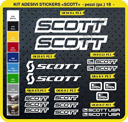 Pimastickerslab Scott Aufkleber, für das Fahrrad, Farbe wählbar, 18 Stück, Artikelnummer 0112, Bianco cod. 010