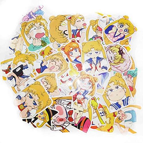 40 unids/pack Anime Sailor Moon Sticker Cartoon Girl Scrapbook Decor PVC Papelería Pegatinas School Office Supply