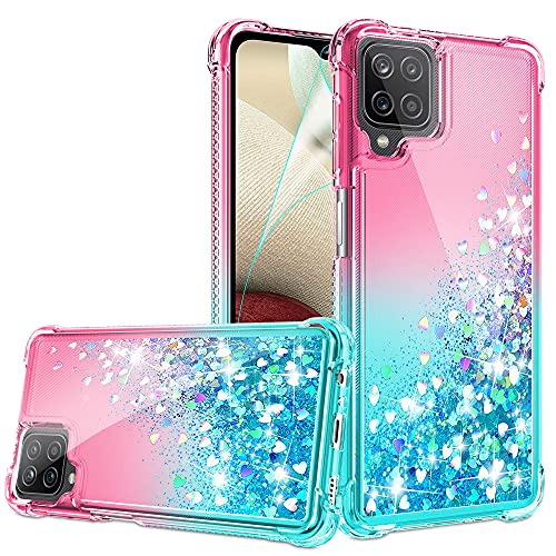Compatible for Samsung Galaxy A12 Case with HD Screen Protector for Girls Women, Gritup Cute Gradient Liquid Glitter Bling Four-Corner Protective Soft TPU Phone Case for Samsung A12 Pink/Teal