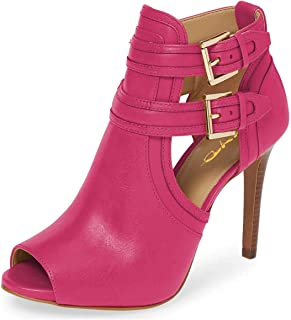 Women Peep Toe Ankle Boots High Heels Buckled Double Straps Cut Out Fashion Pumps Shoes