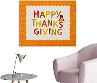 Anzhutwelve Kids Thanksgiving Photographic Wallpaper Little Owl with Pilgrims Hat Celebratory Phrase and Polka Dots Wall Poster Orange Multicolor W28 xL20