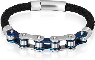 AnazoZ Bracelet Homme Punk Rock Style Acier Inoxydable Cuir Bracelet Marron Renard Longueur-21.5CM
