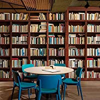 壁の壁画壁紙3D立体新聞本本棚本棚研究室図書館カフェ装飾壁画-130x60cm