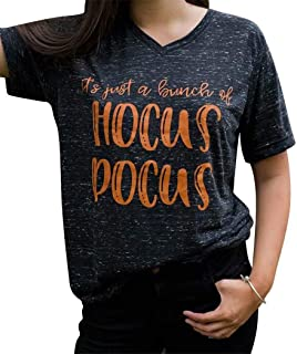 Women Funny Halloween T Shirt It's Just A Bunch of Hocus Pocus Tee V Neck Short Sleeve Tops Blouse
