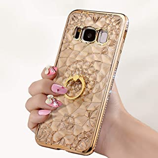 Gaxaly S8 Case Kickstand Compatible with Samsung Galaxy S 8 Cases Glitter Bling Samsum Glaxay 8s Protective Skin Girly Gs8 Cover Sparkly with Finger Ring Holder for SamsungS8 5.8 inch 2018 (Gold)