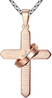Stainless Steel Our Father Lord's Prayer Cross Halo Pendant Necklace, Unisex, 23'' Link Chain