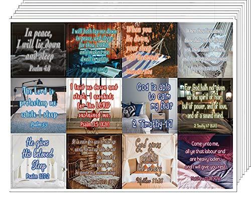NewEights Bijbelverzen slaapmiddelen Stickers (10 vel) - Totaal 120 stuks (10 x 12st) Individuele Klein formaat 2,1 x 2 inch, Waterdicht, unieke ontwerpen, grote verscheidenheid aanmoedigen van kleurrijke stickers