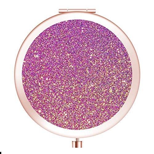 Travel Mirror, Personalized Portable Round Mini Makeup Mirror with Double Sides 2x &1x Magnification Good Gift for Girls [Pink-Gold-Glitter]