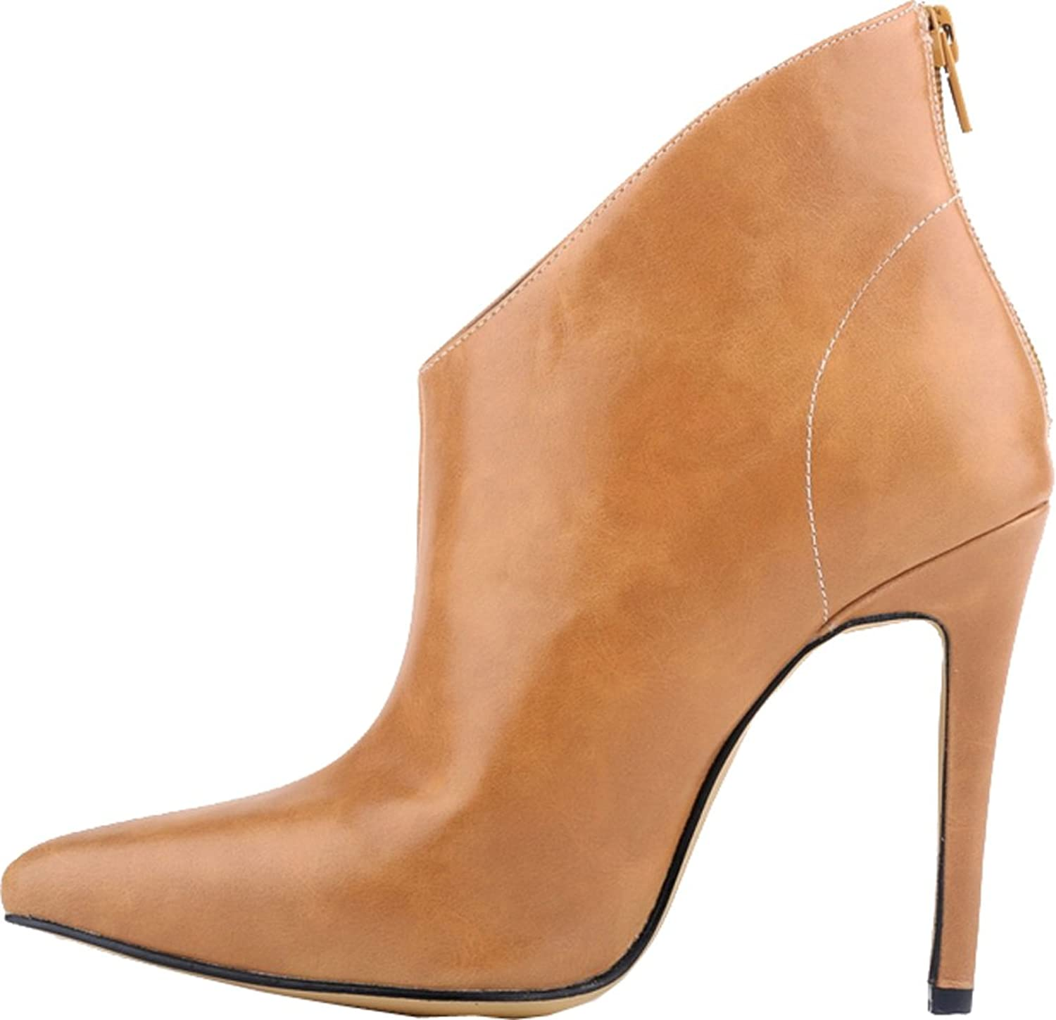 Vimedea Womens Office Party Pumps Pointy Toe Stiletto Low Top Boots Back Zipper 769-1YP