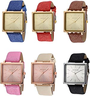 Women Wrist Watch Big Rectangular Dial Quartz Glittering Leather Strap Band Bracelet for Girls Wholesales 6 Pcs Fiiliip Mixed Color (Style 1)
