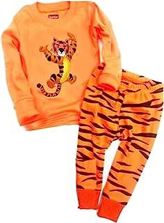 Chinatera Kids Pajamas Set Boys Girls Dinosaur Sleepwear T-Shirt Tops Elastic Pants Homewear Clothes Set Outfits