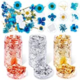 35Pcs Dried Pressed Flowers for Resin and 3 Bottles Gold Flakes, Flasoo Gold Foil Flakes and Real Dried Flowers Pressed Leaves Herbs Kit for Resin Jewelry Making, Soap Making, Nails, Painting, Crafts