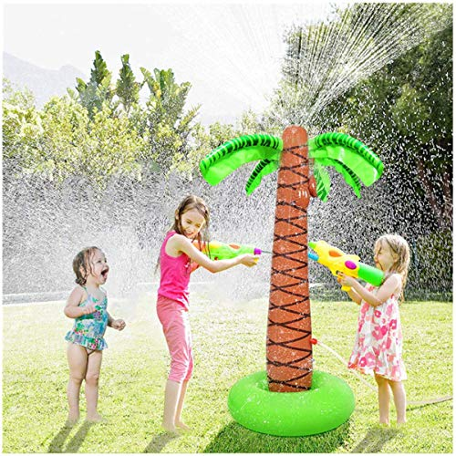 """Max Fun Inflatable Palm Tree Sprinkler Water Sprayer Toy Outdoor Summer Fun Water Play Sprinklers Hawaiian Luau Party Supplies Kids Yard Lawn Water Spray Toys Backyard Beach Party Decorations, 61"""""""
