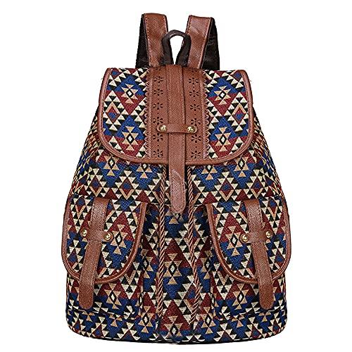 Mochila para mujer con estilo retro, para estudiantes, escolar, casual, impermeable, para el trabajo, escuela, mochila