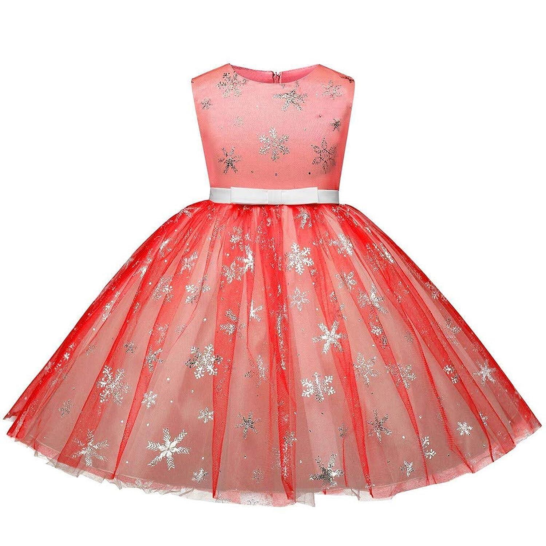 無料 子供ドレス Yumiki 幼児キッズ クリスマスドレス 雪だるま ヘラジカ プリント プリンセスドレス レース 子供 レース ノースリーブ パーティー 衣装 エレガント かわいい