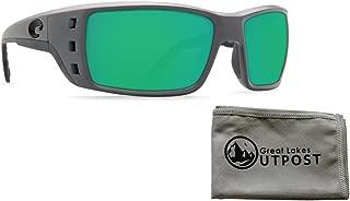 Costa Permit Green Mirror Glass 580G Matte Gray Frame Sunglasses Bundle with Cloth
