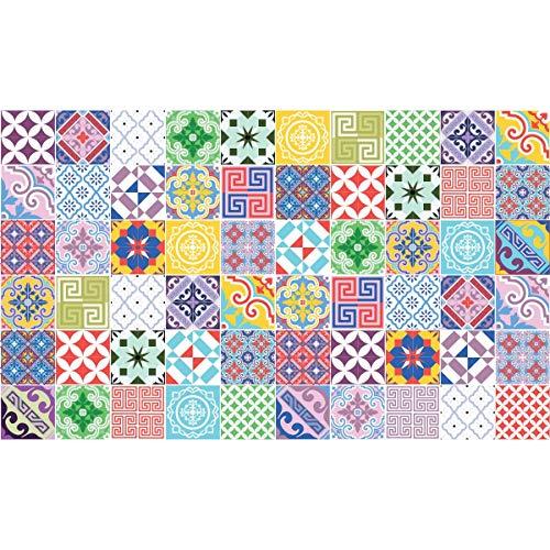 60 tegelstickers | stickers zelfklevende tegels – mozaïek tegels wandtattoo badkamer en keuken | tegellijm – meerkleurig vintage artistiek – 10 x 10 cm – 60-delig