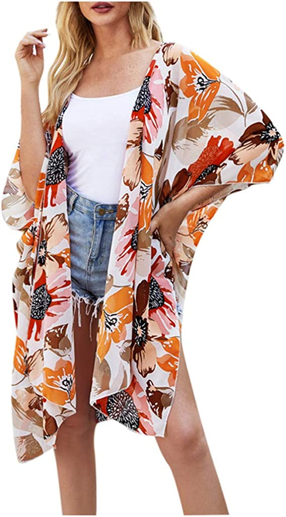 iQKA Womens Summer Flowy Chiffon Beach Swimsuit Cover Ups Floral Print Open Front Kimono Cardigan Dress