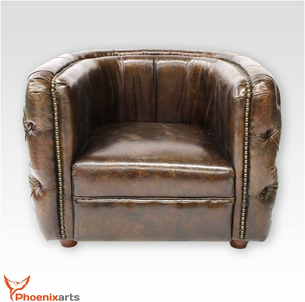 Phoenixarts Sessel Chesterfield Ledersessel Vintage Design Ohrensessel Leder Lounge ClubSessel (Braun 449) Braun 462