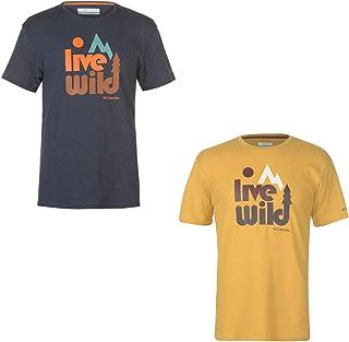 Official Brand Columbia Tera Live Wild T-Shirt Mens Outdoor Activewear Top Tee Pilsner Medium