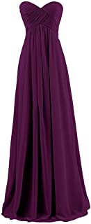 Uther Long Pleated Sweetheart Chiffon Prom Evening Party Gown Bridesmaid Dresses