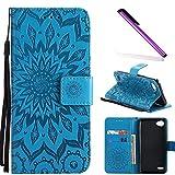 COTDINFOR LG Q6 Protective Standing Hülle Elegant PU Tasche Leder Flip Schutzhülle im Bookstyle Kartenfächer Magnet Etui Schale für LG Q6 Blue Sunflower KT