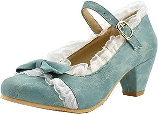 LOVOUO Mary Jane Chaussures Femme Escarpins Talon Bloc Carré Moyen Bride Cheville avec Noeud Boucle Sweet 5CM