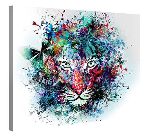 Picanova – Tiger Artwork 100x75cm – Premium Leinwanddruck – Kunstdruck Auf 2cm Holz-Keilrahmen Für Schlaf- Und Wohnzimmer
