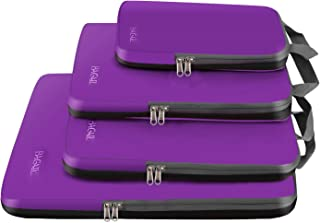 4 Set Compression Packing Cubes Travel Expandable Packing Organizers (Purple)