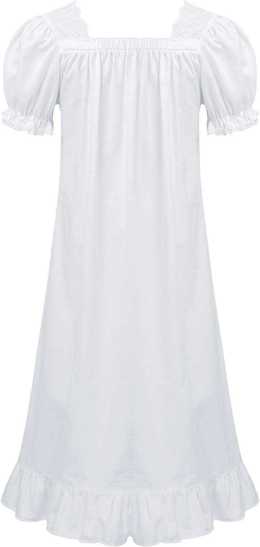 YOOJIA Kids Girls Short Sleeves Cotton Long Vintage Victorian Nightie Nightgowns Princess Nightdress Sleepwear