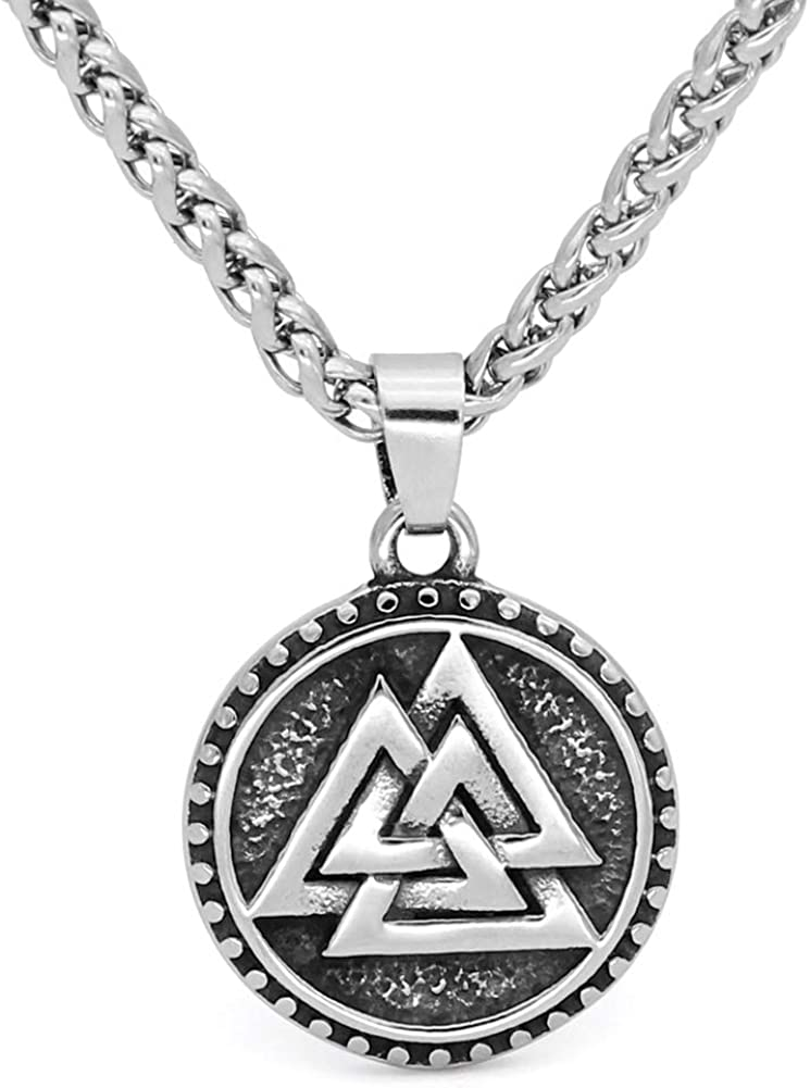 GuoShuang Nordic Viking Valknut Amulet Stainless steel Pendant Necklace for man and women -With Valknut Rune Gift Bag