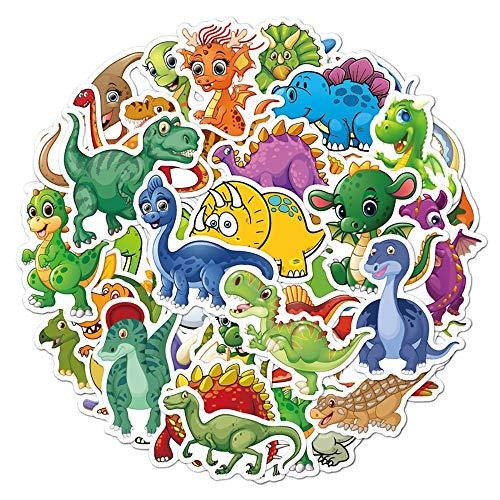 YZFCL Lindas Pegatinas de Dinosaurio de Dibujos Animados, teléfono DIY, Snowboard, portátil, Equipaje, Nevera, Guitarra, Graffiti, Pegatinas clásicas Impermeables, 50 Uds.