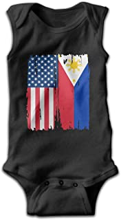 American Philippines Flag Baby Boy Girls Sleeveless Bodysuit Outfits Clothes Pajamas