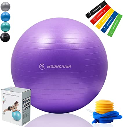Mounchain Professional Grade Yoga Ball Stability & Anti- Burst Exercise Equipment with 5 Pcs Resistance Loop Exercise Bands Gift