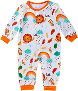 FWEIP Newborn Baby Long Sleeve Cartoon Print Jumpsuit Boys Girl Unisex Colorful Bodysuit One Piece Outfits