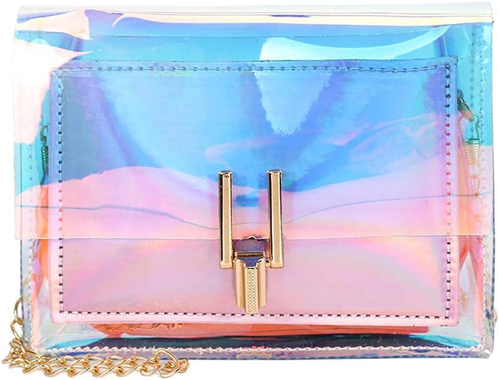 Transparent Holographic Clear Handbag Shoulder Crossbody Bag Messenger with Chains for Women Girls